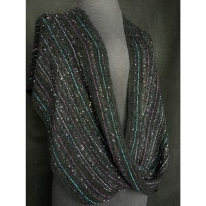 black multi-colored infinity swoop handwoven by Darla Beverage