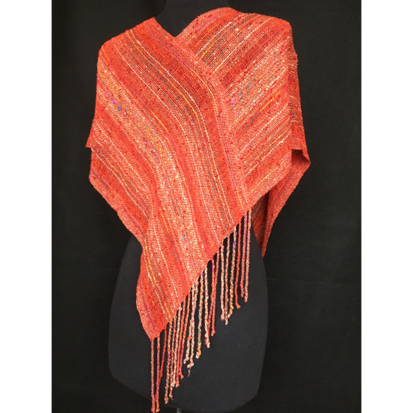 handwoven red infinity shawl