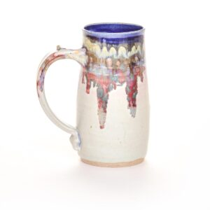 large handmade ceramic white stein, handmade ceramic beer mug