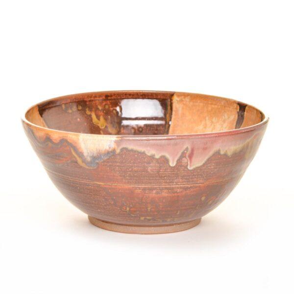 large red and brown handmade ceramic serving bowl