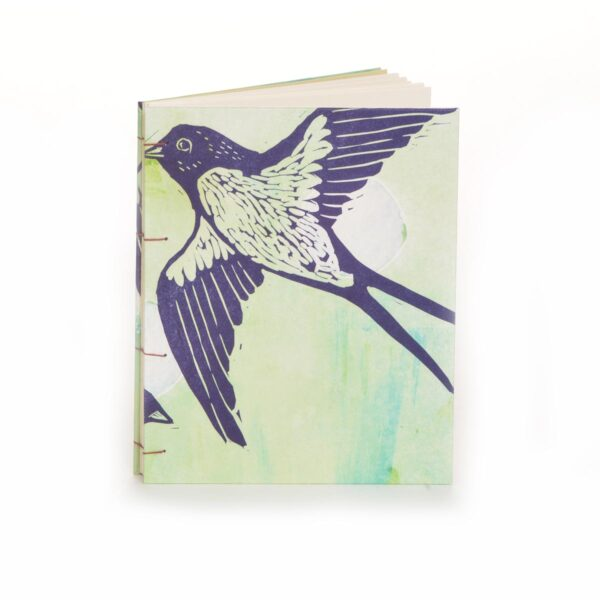 handmade journal with bird print on cover