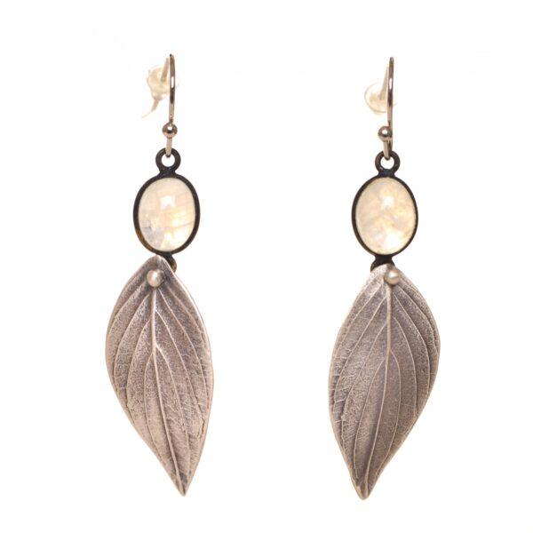 moonstone dogwood leaf earrings, nature jewelry
