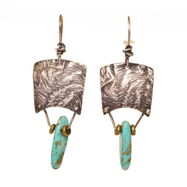 textured silver square with long turquoise bead earrings