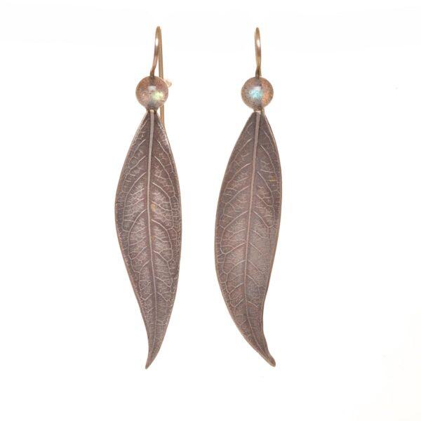 long leaf earrings with moonstone