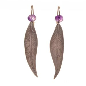 long leaf earrings with amethyst stone