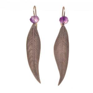 long leaf earrings with amethyst stone