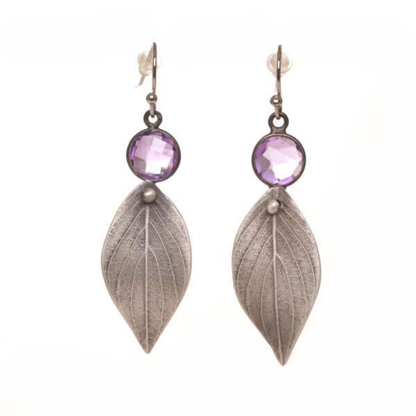 amethyst dogwood leaf earrings