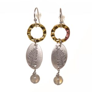 silver fern handmade earrings with labradorite bead