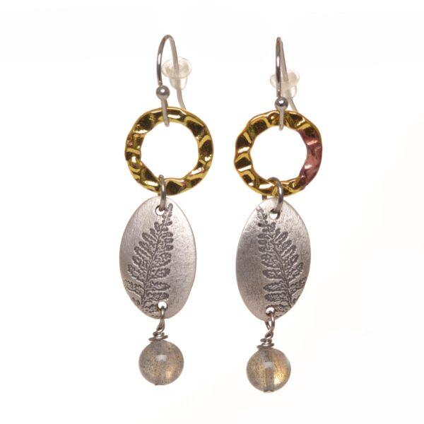silver fern handmade earrings with labradorite bead
