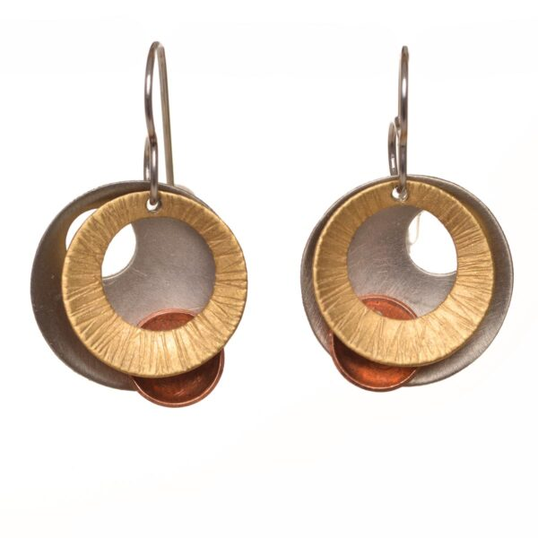 silver copper and brass round handcrafted ,mixed metal earrings