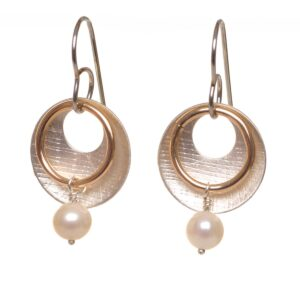 silver brass and pearl handcrafted earrings