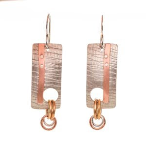 silver copper and brass mixed metal handcrafted earrings