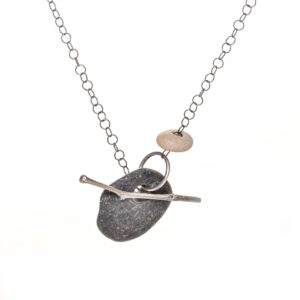 pebble necklace with cast silver stick