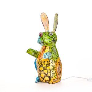 light up paper mache bunny lamp