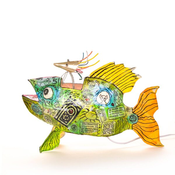 whimsical paper mache fish lamp