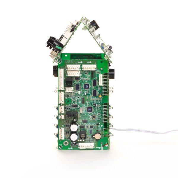 computer chip night light lantern, found object recycled art, outsider art lamp
