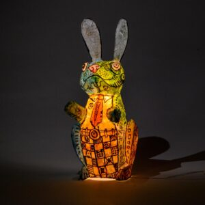 fun whimsical rabbit lamp with pants and a tie