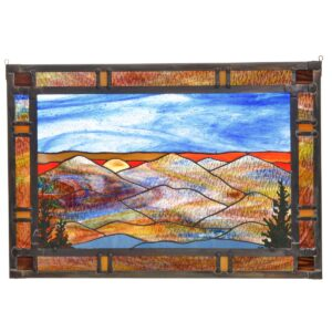 landscape stained glass large panel, mountain home decor