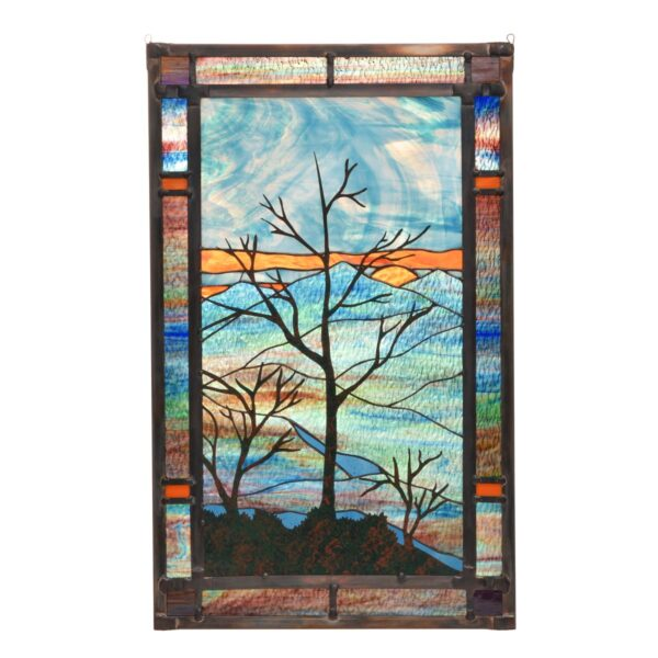 mountain sunset stained glass window panel