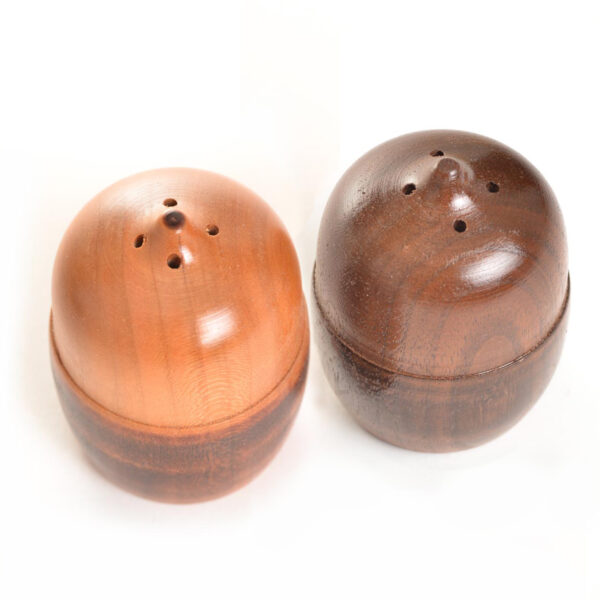 cherry and walnut acorn wooden turned salt and pepper shakers
