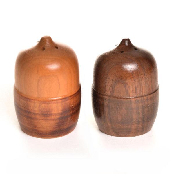 turned handmade acorn wooden salt and pepper