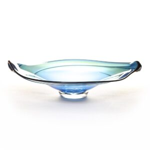 blue blown glass bowl, nc glass blower, penland glass blowing, rob levin glass