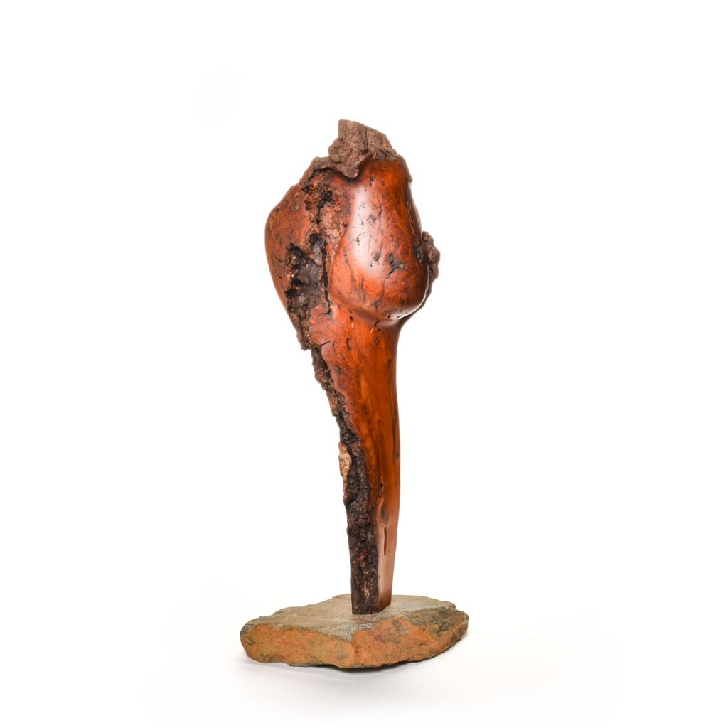 standing cherry burl wood sculpture