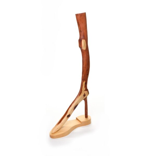 wood sculpture to look like a leg with stiletto heel