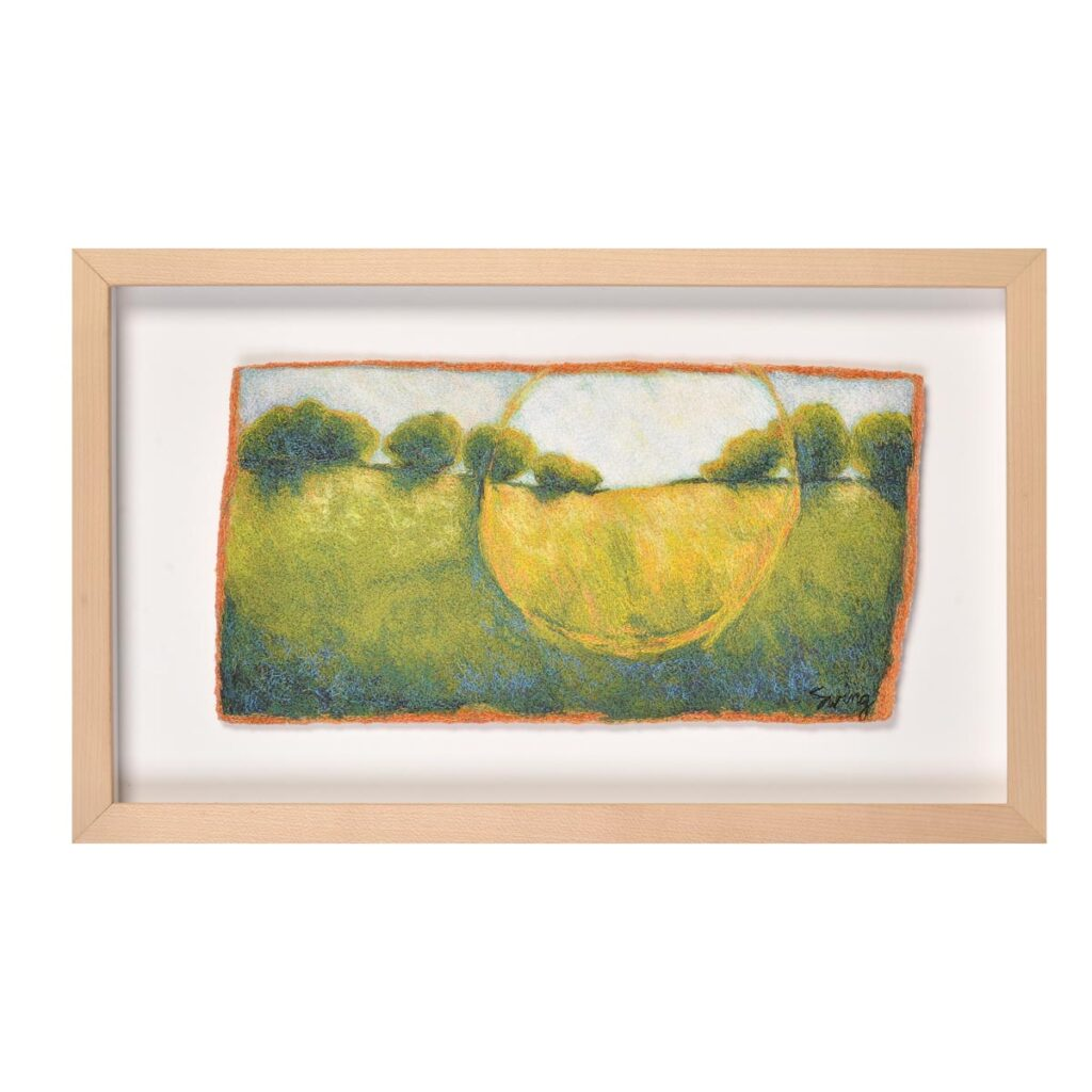long landscape embroidered and framed