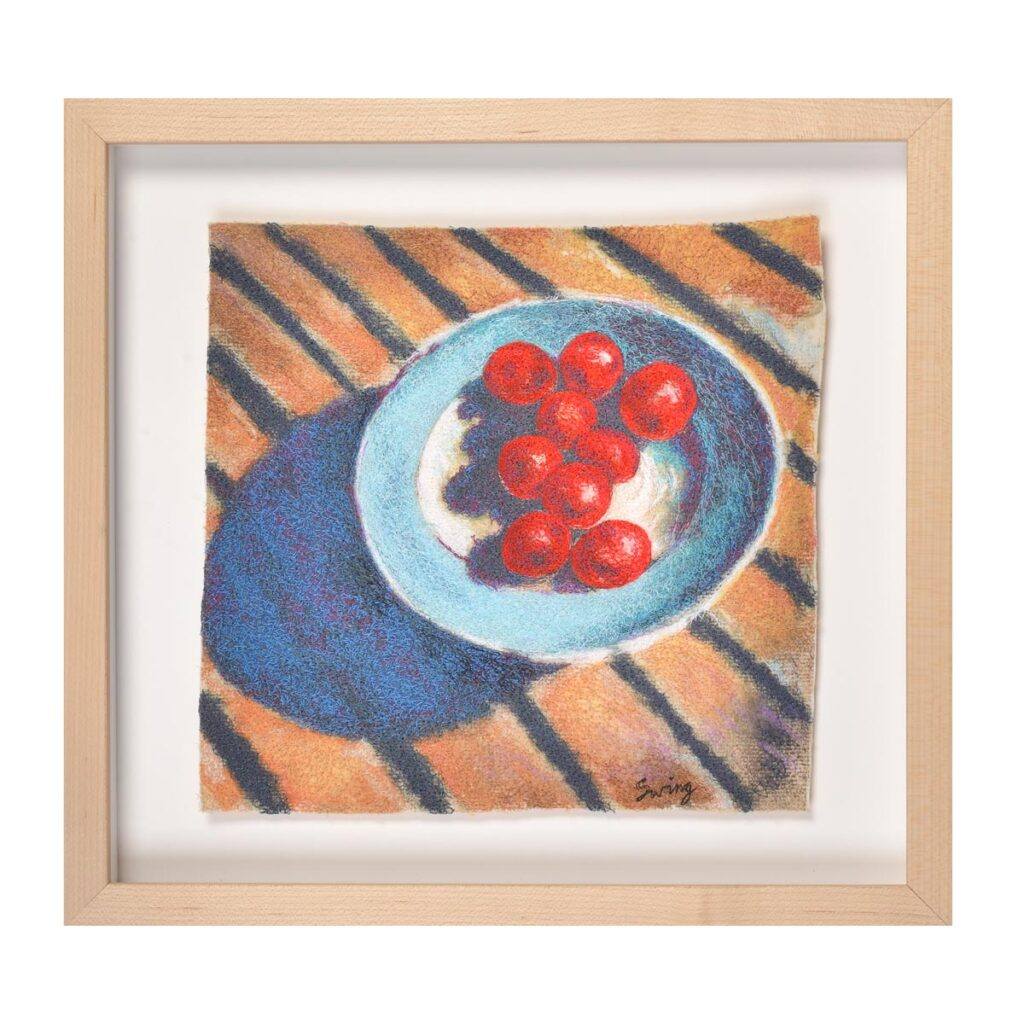 cherry tomatoes still life embroidery