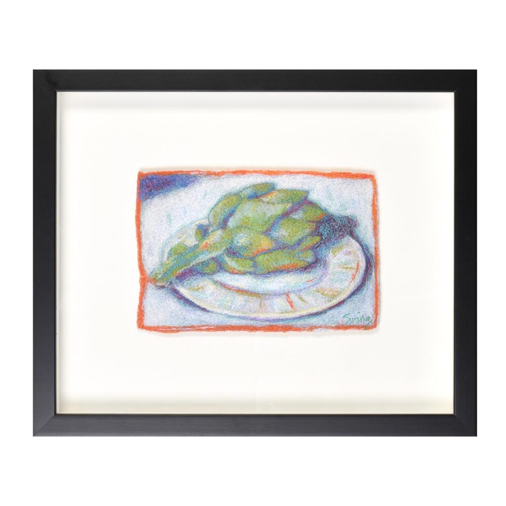 framed embroidered artichoke still life