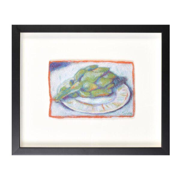 framed embroidered artichoke still life