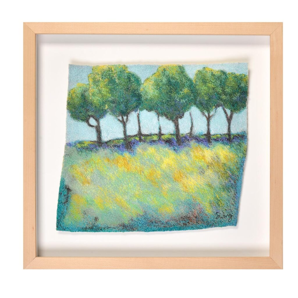 tree landscape framed embroidery