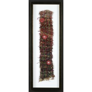 handwoven framed fiber piece, nc fiber artist