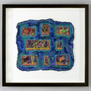 framed fiber piece made in North Carolina, cobalt blue fiber with squares inside