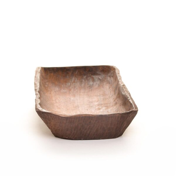 long rustic black walnut dough bowl