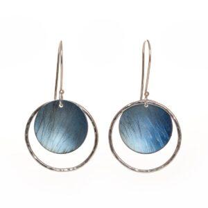 light blue silver and titanium circle earrings, ilene kay jeweler