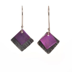pink and silver titanium diamond shaped earrings