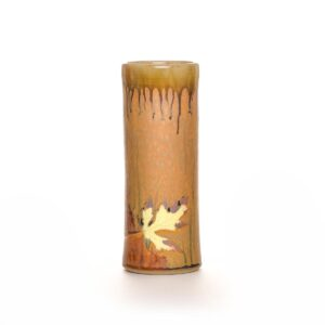 tall brown wood ash glaze leaf vase, tall handmade cylinder vase