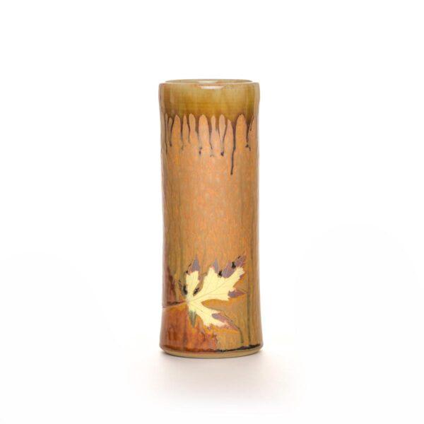 tall brown wood ash glaze leaf vase, tall handmade cylinder vase