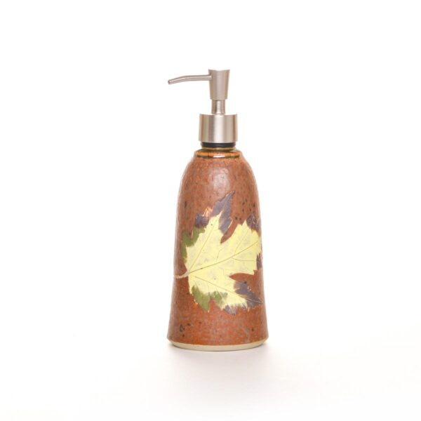 brown ceramic handmade lotion soap dispenser with leaf, mountain home kitchen soap