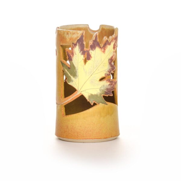 yellow ceramic handmade lantern with leaf