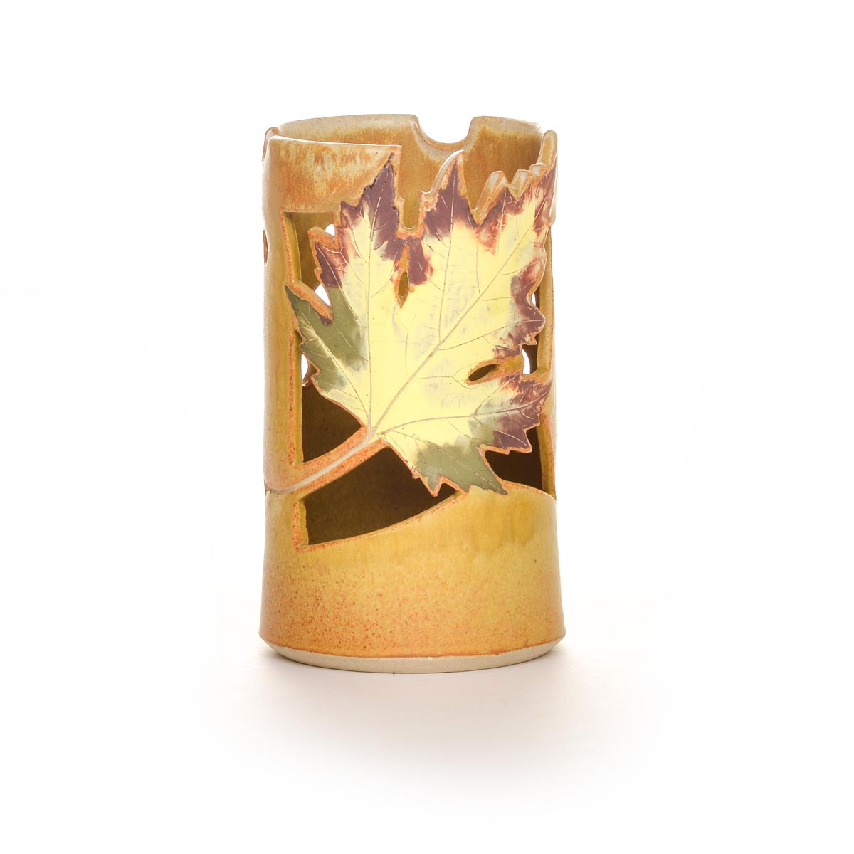 Ceramic Yellow Leaf Lantern Southern Highland Craft Guild