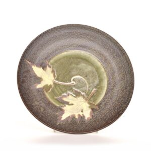 round gun metal glazed leaf ceramic serving platter