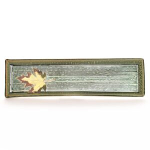 long green handmade ceramic bread rectangle tray, mountain entertaining