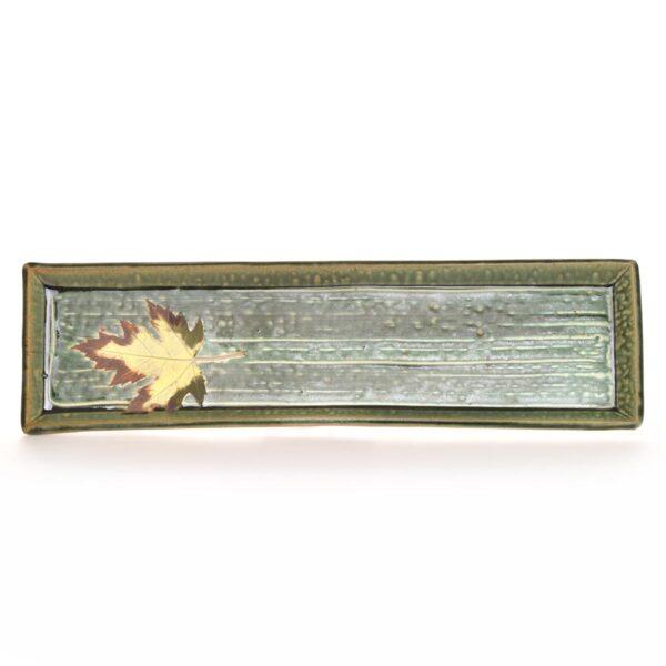 long green handmade ceramic bread rectangle tray, mountain entertaining