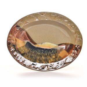 large oval ceramic platter with leaves carved in the rim, multicolor large oval ceramic platter with glaze