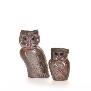 handmade woodfired owl sculpture, handmade ceramic mountain decor
