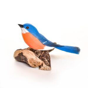 carved and painted handmade bluebird