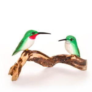 carved hummingbird pair